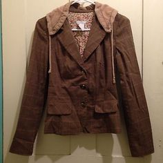Charlotte Russe Blazer Jacket Lined Hood Brown Drawstring Juniors Size Small