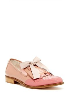 I would wear these with something girly and floral. Or really anything.  Red Valentino Patent Kiltie Loafer @HauteLook