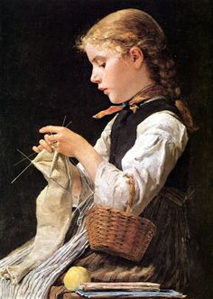 girl knitting painting | Albert Samuel Anker - Knitting Girl - Pictify - your social art ...