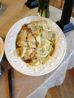 Spinach and Cheese Ravioli with Mizithra Cheese and Brown Butter Sauce