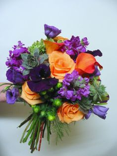 Wedding Flowers - Bouquet in bright orange and purple.