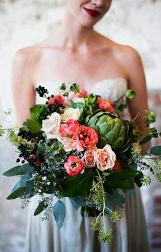 Unique Wedding Bouquet: Cream, Peach, Coral Roses, Green Hydrangea, Green Artichoke, Dark Blue Privet Berries, Green Eucalyptus & Additional Coordinating Florals & Foliage