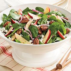 Side Dishes and Salads for Entertaining | Spinach-Apple Salad With Maple-Cider Vinaigrette | SouthernLiving.com