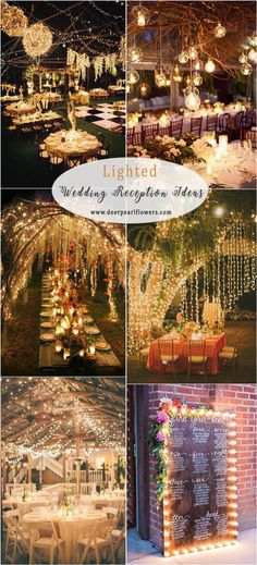 rustic country lighted wedding reception decor ideas #weddings #weddingideas #countryweddings