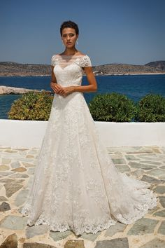 Justin Alexander Lace Appliqué on Point d'Esprit A-line Gown with Short Sleeves (scheduled via http://www.tailwindapp.com?utm_source=pinterest&utm_medium=twpin)
