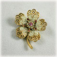 Vintage Signed BSK Seed Pearl and Rhinestone Brooch Flower Pin.