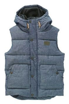 Denim look quilted puffer gilet vest