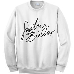 NEW - Justin Bieber Signature Crewneck Sweatshirt (Preorder) ($28) ❤ liked on Polyvore