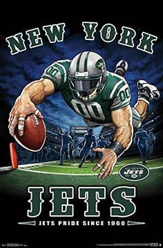 The New York Jets Pride Poster hangs perfectly in any bedroom, man-cave, office and den for any Jets fan. Officially Licensed through NFL Measures High Quality - Crystal Clear Image Printed on FSC-Certified Paper at FSC-Certified Printers New York Jets Football, Nfl Football Teams, Football Art, Football Things, Football Images, Football Stuff, Nfl Flag, Personalized Football, American Football