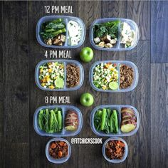 """""""If you want to make an easy job seem mighty hard just keep putting it off!"""" ... Nicely laid out meal prep goodies from @fitchickscook :::::::::::::::::::::::::::::::::::::::::"""" Week 154 My meals for the next two days all laid out here. I do 16-8 hour intermittent fasting so I only eat between 12 to 8 pm. In the morning I'll ask black coffee or tea and water. 12 PM: Egg whites omelette with chives with @flavorgod garlic lover steamed Chinese broccoli and baked eggplants with @flavorgod ..."""