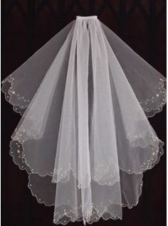 Wedding Veils - $16.99 - Two-tier Fingertip Bridal Veils With Beaded Edge  http://www.dressfirst.com/Two-Tier-Fingertip-Bridal-Veils-With-Beaded-Edge-006035411-g35411