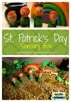 St. Patrick's Day Sensory Box with Peg Doll Leprechauns from Pink and Green Mama