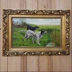 Perfect for the hunter or gamesman in your family, this colorful Antique Oil Painting on Canvas by Leonnel Pertina is a pastoral that features two hunting dogs prominent in the center of the work, situated in its original frame.Circa early 1900sEach measures 17.5H x 24.5W