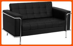 Flash Furniture ZB-LESLEY-8090-LS-BK-GG Hercules Lesley Series Contemporary Black Leather Love Seat with Encasing Frame - Improve your home (*Amazon Partner-Link)