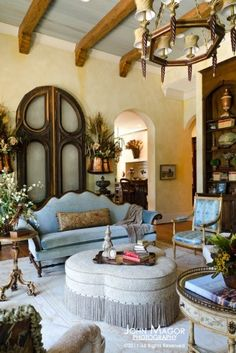 Arched salvaged doors as backdrop for the sofa - Luxurious French Country Home. I love the salvaged doors! Living Room Decor Country, French Country Living Room, Country French, Country Chic, French Style, French Decor, French Country Decorating, Sweet Home, Beautiful Interiors