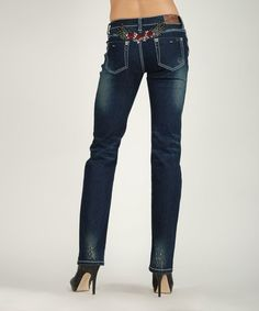 This Dark Stone Wash Amelia Mid-Rise Straight-Leg Jeans is perfect! #zulilyfinds