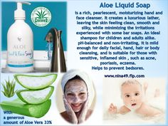 Aloe Liquid Soap pH-balanced and non-irritating. It is suitable for those with sensitive skin. Order at www.nina49.flp.com