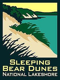 ANP Sleeping Bear Dunes National Lakeshore Pin: Covering a stretch of Lake Michigan's eastern coastline, Sleeping Bear Dunes National Lakeshor Traverse City Michigan, Michigan Travel, Lake Michigan, Saugatuck Michigan, Detroit Michigan, National Park Posters, National Parks, Northern Michigan, Illustrations