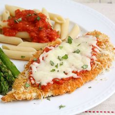 Lighter Chicken Parmesan. Baked, not fried, for a healthier result that's still just as crispy.