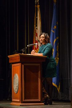 Black Lives Matter cofounder wows capacity crowd at MLK Convocation.  Alicia Garza, cofounder of Black Lives Matter movement, exposes painful truths, reflects on King's legacy
