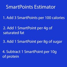 Sometimes I just need to know how to quickly estimate the number of SmartPoints in food based upon the available nutritional information. Of course, I can get an exact calculation of SmartPoints a var