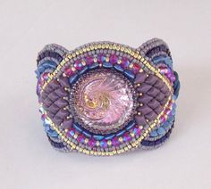 Bracelet, Fashionable cuff, Bead Embroidery, Spring Colours, Trending cuff , OOAK , Seed bead bracelet, Czech glass button , Swarovski cuff by vicus. Explore more products on http://vicus.etsy.com