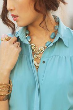 Love the necklace and the big stone ring