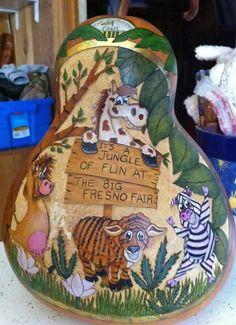 """Gourd art """"A Jungle of Fun"""" by Irene Gonzalez"""