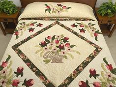 King Dark Green Rose and Pink Spring Basket quilt from Amish Country Quilts http://www.amishcountrylanes.com