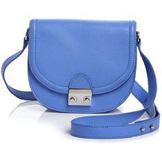 Loeffler Randall Saddle Bag ($170) ❤ liked on Polyvore featuring bags, handbags, shoulder bags, periwinkle, loeffler randall, blue shoulder bag, saddle bags, loeffler randall handbags and blue handbags