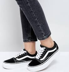 3c75bc884a5 Vans Old Skool Platform Sneakers In Black And White
