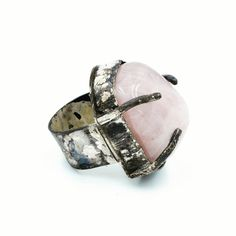Distressed Sterling silver ring, set with polished Rose Quartz