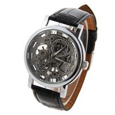 Stylish Silver Dial Mechanical Watch with Water Resistant 20mm Leather Watchband for Male (SILVER DIAL) China Wholesale - Sammydress.com