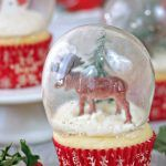 Snow Globe Cupcakes are the BEST Christmas cupcake! They're made with real gelatin bubbles, so the cupcake is entirely edible!