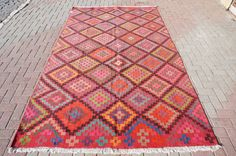 Vintage Turkish Kilim Rug from Oushak Cicim Embroidered  75'' x 121 '' inches - 185 x 307 cm
