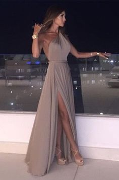 BIG OFF promotion for One Day!Simple Chiffon Prom Dresses Long Sleeveless One Shoulder Evening Dresses Formal Gowns Sexy Party Dress for Women