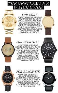 Look classy as hell with a good-looking watch. 34 Game-Changing Style Tips Every Guy Should Know Mens Style Guide, Men Style Tips, Guy Style, Best Looking Watches, Fashion Infographic, Gentleman Watch, Swiss Army Watches, Mens Clothing Styles, Trendy Clothing