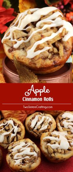 Apple Cinnamon Rolls - we've transformed Pillsbury Cinnamon Rolls into delicious Holiday treats that your family will love. They are a wonderful alternative to pies or cupcakes this Thanksgiving or Christmas season. Check out this fun Christmas dessert that is both easy to make and super delicious. Pin this Christmas treat for later and follow us for more great Christmas Food ideas.
