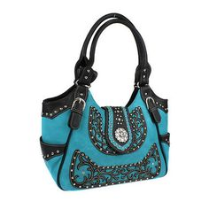 This purse features a scrollwork accent in black with studded accents. It has plenty of storage with pockets on the inside and back as well.  Get this beauty before they are all gone!  TURQUOISE SCROLL AND CONCHO ACCENTED HANDBAG PURSE!  www.nanascountryrusticshop.com www.facebook.com/nanascountryrusticshop #newlylisted #purse #handbag #nanascountryrusticshop