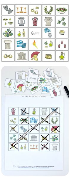 Greece Bingo Game Free Printable! Great learning activity for unit on Greece!