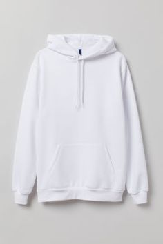 Long-sleeved top in soft sweatshirt fabric with a lined drawstring hood, kangaroo pocket and ribbing at the cuffs and hem. White Hooded Sweatshirt, Sweater Hoodie, Hooded Sweatshirts, All White Hoodie, Hoody, Mode Adidas, Aesthetic Hoodie, Trendy Hoodies, Hoodie Dress