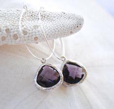 Amethyst Jewel Silver Hoop Earrings. Bridesmaids Earrings. Purple and Silver.
