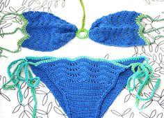 Swimsuit Crochet bikini Cobalt blue swimwear in two by MarryG