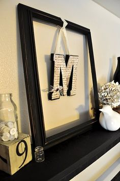Mantle decor Love this--just get a big frame and interchange what's inside--could do a heart at Valentine's, a star at Christmas, a snowflake for January, etc. Wrap the frame in yarn/cloth strips to coordinate with the color of decorations on the mantle! Empty Frames, Old Frames, Hanging Letters, Framed Letters, Letter Wall Decor, Hanging Artwork, Diy Letters, Reno, Home And Deco