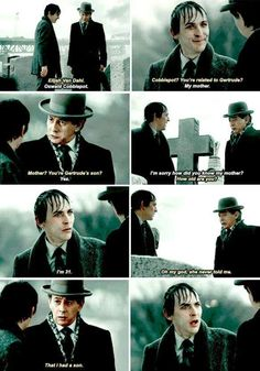 """""""She never told me. That I had a son"""" - Elijah and Oswald #Gotham ((His face at the end though))"""