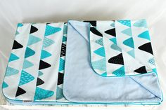 Minky Baby Blanket for Girl and Boy Mountain Black Turquoise