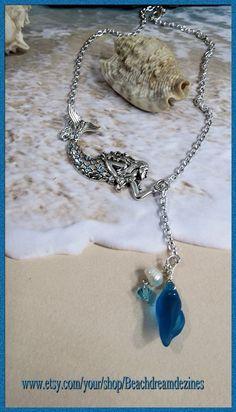 Adjustable Silver Mermaid with beach glass, genuine pearl & Swarovski Crystals
