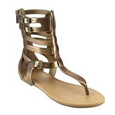 Beston IA56 Women's T-strap Caged Buckled Flat Thong Sandals One Size Bigger, Color:LIGHT BRONZE, Size:7.5. Featuring Faux Leather Straps. Back zip eases dress. Four buckled ankle straps. Thong Gladiator Sandal. Fit: True to Size.