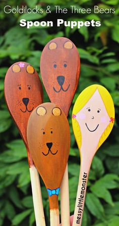 Goldilocks and the Three Bears Spoon Puppets Messy little Monster: Goldilocks and the Three Bears Wooden Spoon Puppet Craft for Kids : Perfect for pretend play Wooden Spoon Crafts, Wooden Spoons, Kids Crafts, Craft Projects, Easter Crafts, Craft Ideas, Story Sack, Culture Art, Traditional Tales