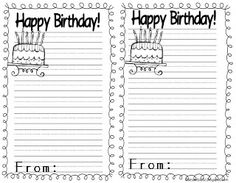 Freebie writing paper! Each student writes the birthday boy or girl a note & then the teacher staples them all together! Great writing activity & what a wonderful birthday keepsake.